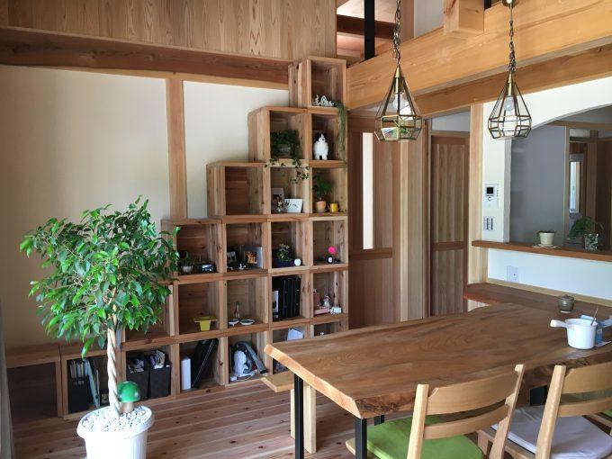 野地板と床板の30㎜の端材利用の本箱